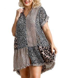 Umgee USA Wome's Leopard Patchwork Shirt Dress Plus Mocha Black