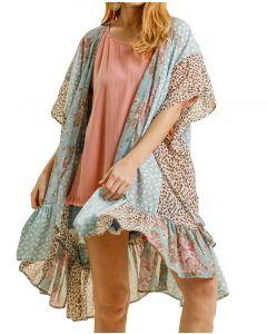 Umgee USA Women's Floral Leopard Kimono Dusty Mint Mix