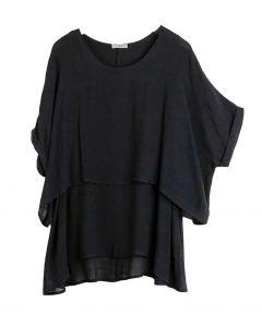 Umgee USA Women's Layered Tunic Black
