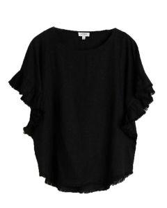 Umgee USA Women's Ruffle Sleeve Top Plus Black