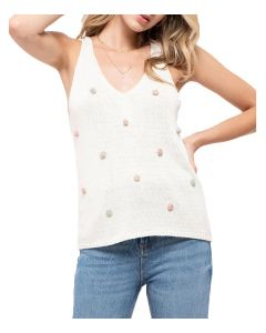 Blu Pepper Women's PomPom Sleeveless Top Ivory Multi