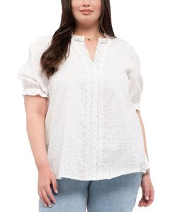 Blu Pepper Women's Woven Lace Top White