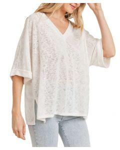 Cherish Women's Cuffed Knit Top Off-White