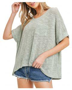 Cherish Women's Soft Slub Knit Top Sage