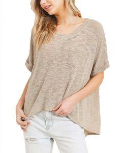 Cherish Women's Soft Slub Knit Top Taupe