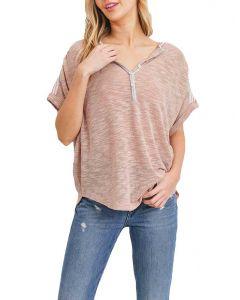Cherish Women's Knit Henley Dusty Pink