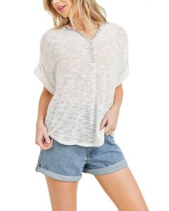 Cherish Women's Knit Henley Off-White