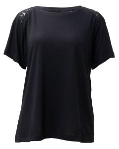 Stillwater Supply Co. Ladies Top With Lace Trim Black
