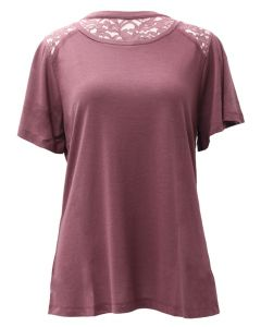 Stillwater Supply Co. Ladies Top With Lace Trim Mauve
