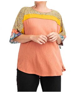Easel Mix Print Knit Top Coral