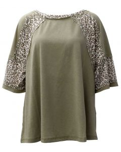 Easel Mix Leopard Tunic Sage Grey