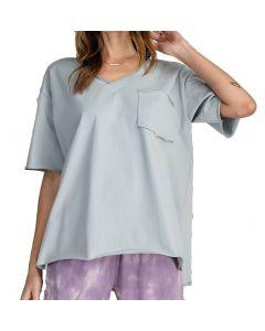 Easel Kass V-Neck T-Shirt Blue Grey