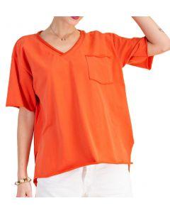 Easel Kass V-Neck T-Shirt Coral