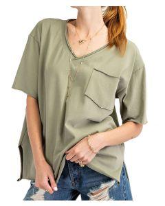 Easel Kass V-Neck T-Shirt Sage Grey