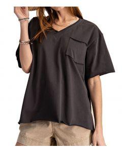 Easel Kass V-Neck T-Shirt Plus Smoke