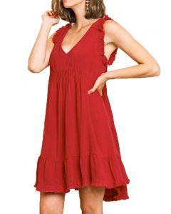 Umgee USA Frayed Dress Jester Red