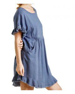 Umgee USA Women's Frayed Pocket Dress Dusty Blue