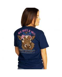 Simply Southern Women's Moo T-Shirt Navy