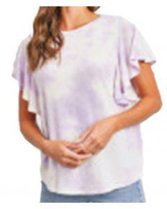 Cherish Women's Bell Sleeves Tie Dye Knit Top Lavender