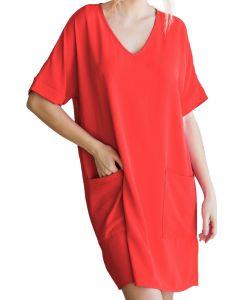 Jodifl Women's Short Sleeve Dress Tomato
