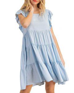 Kori America Ruffle Tier Dress Light Blue