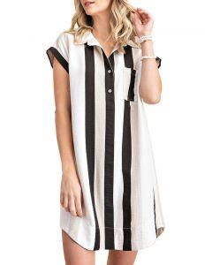 Kori America Strip Shirt Collar Tunic Dress Black White