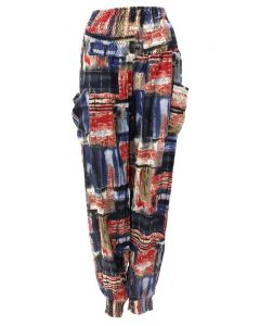 Easel Print Jogger Red Navy