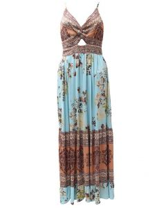 Angie Tiered Maxi Dress Ocean