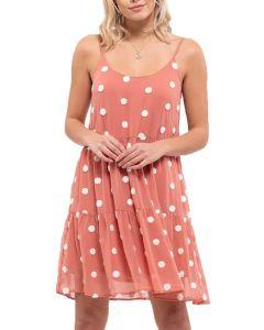 Blu Pepper Women's Textured Dot Mini Dress Apricot