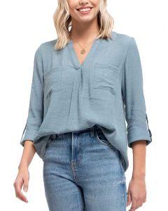 Blu Pepper Women's V-Neck Woven Shirt Light Teal