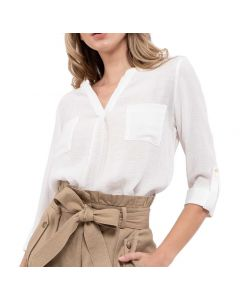 Blu Pepper Women's V-Neck Woven Shirt White