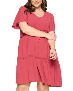 Oddi Women's Babydoll Mini Woven Dress Crimson