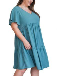 Oddi Women's Babydoll Mini Woven Dress Teal