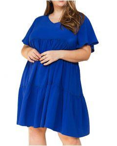 Oddi Women's Babydoll Mini Woven Dress Royal