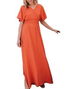 Oddi Maxi Dress Coral