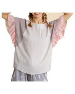 Umgee Women's Colorblock Butterfly Top Off White