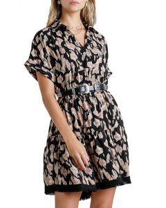 Umgee USA Women's Animal Dress Black Tan