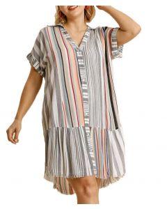 Umgee USA Women's Stripe Button Down Plus Dress Black Red