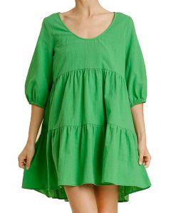 Umgee USA Women's Tiered Babydoll Dress Apple Green
