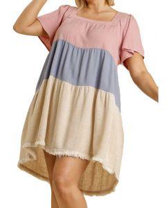 Umgee USA Women's Colorblock Dress Blush