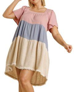 Umgee USA Women's Colorblock Plus Dress Blush