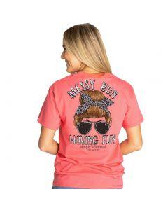 Simply Southern Vintage Messy Bun T-Shirt Begonia