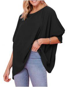 Oddi Solid Printed Knit Tunic Black