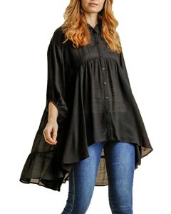 Umgee USA Button Down Tiered Tunic Black