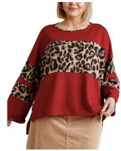 Umgee USA Leopard Mix Top Red