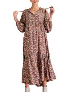 Easel Floral Maxi Dress Mushroom