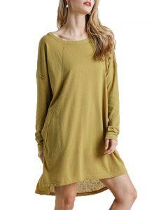 Umgee USA Long Sleeve Plus Dress Mustard