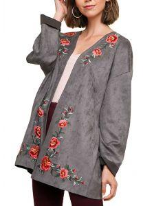 Umgee USA Floral Suede Jacket Charcoal