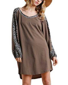 Umgee USA Leopard Dress Mocha