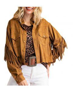 Kori America Fringe Jacket Camel
